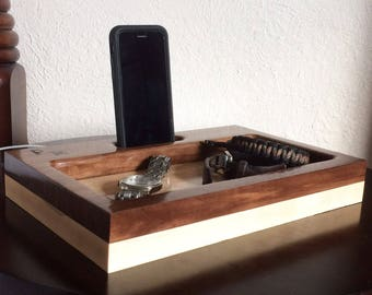 Docking Station, Charging Station, iPhone Dock, Gift for Boyfriend, Personalized Gift for Men, Tech Organizer, Anniversary Gift, Tech Gift