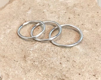 Stackable sterling silver rings, sterling silver thin bands, round wire sterling silver rings, sterling silver rings, think silver bands