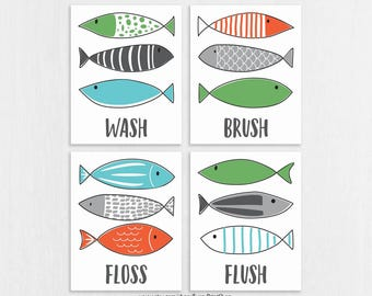 fish bathroom art prints set of 4 wash brush floss flush modern bathroom wall