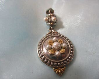 Vintage Silver Tone Metal with Tiny White Faux Pearls,Medallion Style  Pendant, Necklace
