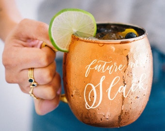 Personalized Moscow Mule Copper Mug -  Custom Round Copper Mug - Wedding Gift - Mr and Mrs - Engagement Gift - Cocktail Home Bar