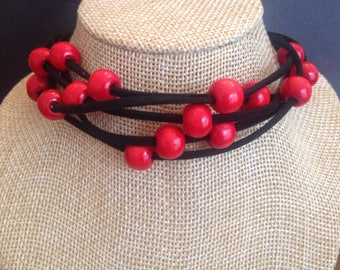 CHOKER Black SUEDE with Red Beads