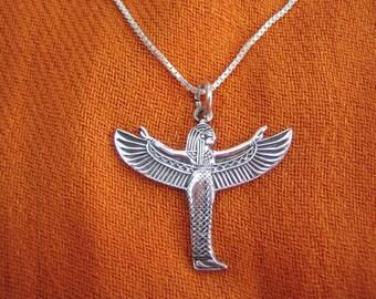 Gorgeous Isis necklace, Egyptian Goddess Isis, Egyptian sterling silver necklace, Egyptian necklace, Egyptian pendant