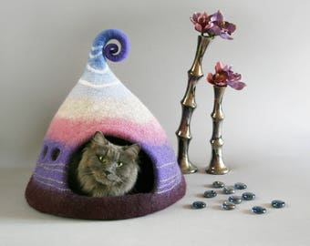 Cat cave, Cat house, Small dog house, Purple, Lilac white blue, Nordic style cat cave, Natural wool, Eco friendly, Fantasy cat cave