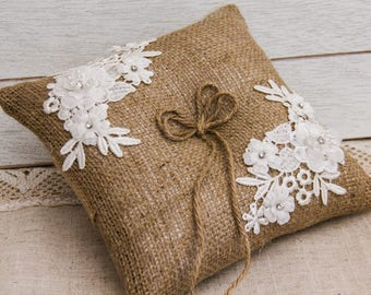 Rustic Ring Bearer Pillow, Burlap and Lace Wedding Ring Pillow, Burlap Ring Bearer Pillow