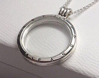 Genuine Pandora Sterling Silver Large Floating Locket Necklace with box  With 75cm Adjustable chain