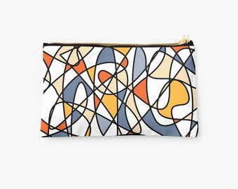 abstract pouch, abstract makeup pouch, abstract zipper pouch, abstract zip pouch, abstract travel pouch, abstract studio pouch, zip pouch