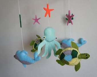 Mobile sea turtle, Octopus and Dolphin felt