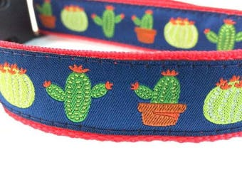 Cactus Dog Collar | Cactus Leash | Cactus Harness | Step In Harness | Personalized Dog Collar | Hipster Dog Collar | Engraved Metal Buckle