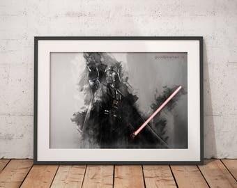 Darth Vader print Darth Vader poster Star Wars Wall art Home Decor