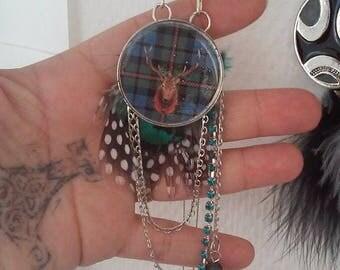 Plaid deer head necklace