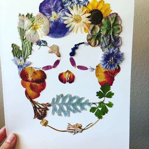 Flower Skull Art - Pressed Flower Herbarium 8x10 - Botanical Art - Sugar Skull- Mexican Folk Art- Framed Flower Art- Pressed Botanical Art