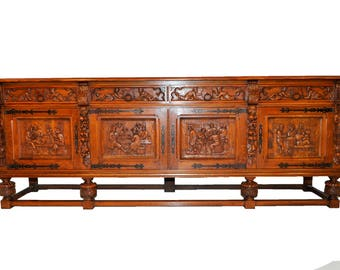 Ornate Bruegal Design Server, Buffet or Sideboard. Heavily Carved French Renaissance Influence #8288