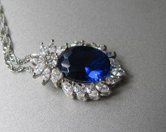 Crowned navy blue CZ necklace