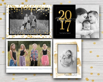 Four New Years photo card set