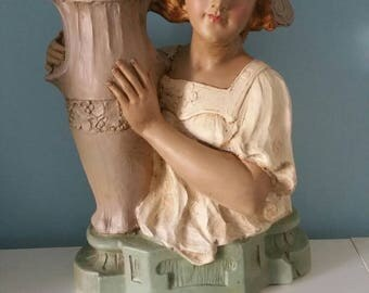 Stunning large antique French bust! Woman with vase plaster chalkware statue art nouveau deposé