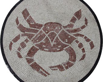 """Round 35"""" Medallion Centered Crab Marble Mosaic MD1820"""