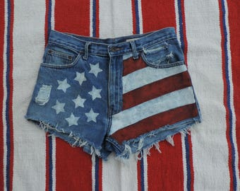 """Vintage Style Trigger Jeans Painted American Flag Destroyed Denim Cut-off Shorts, High Waist, Jean Shorts,  Size - 30"""""""