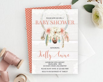 Dreamcatcher Baby Shower Invitation, Dreamcatcher Invite, Boho Baby Shower, Dream Catcher, Baby Shower Invite, Shower Invitation, Printable
