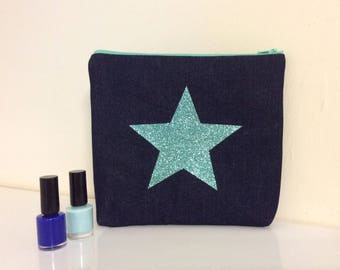 Makeup bag, cosmetic purse with sparkly turqouise glitter star, cosmetic purse, bright glitter zip purse, star wash bag,Denim  wash bag