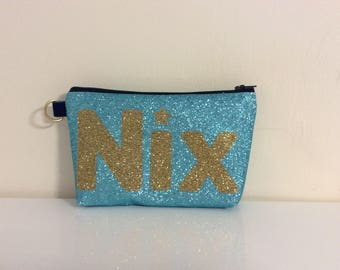 Personalised cosmetic bag, Glitter wash bag, glitter makeup bag, personalised bag, makeup bag, pencil case, turquoise glitter bag