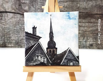 Mini Canvas Giclée Print with Easel - Handmade - Langenberg Urban Sketching Watercolor, drawing artwork by Fleurdoodles Maike Geller