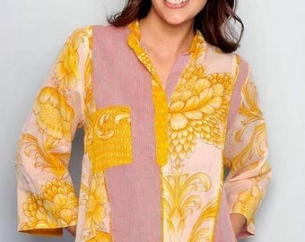 MARIGOLD Flowers Prints 3/4 French Sleeves Blouse