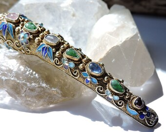 Corsage Flower Brooch with Multi Stones