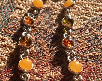 Silver Link Bracelet with multicoloured Amber