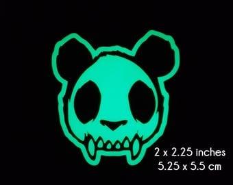 Panda Zombie Skull Glow in the Dark Decal / Sticker - Macbooks, iPhones, Android, Laptops, Windows