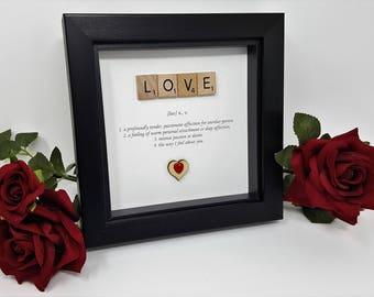 Scrabble Word Art - Love - Valentines Gift - Engagement - Anniversary - Scrabble Gift Frame