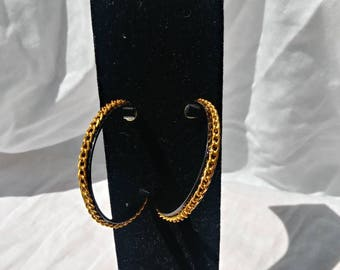 Black earrings, gold hoop earrings, hoop earrings, jewelry, jewellery
