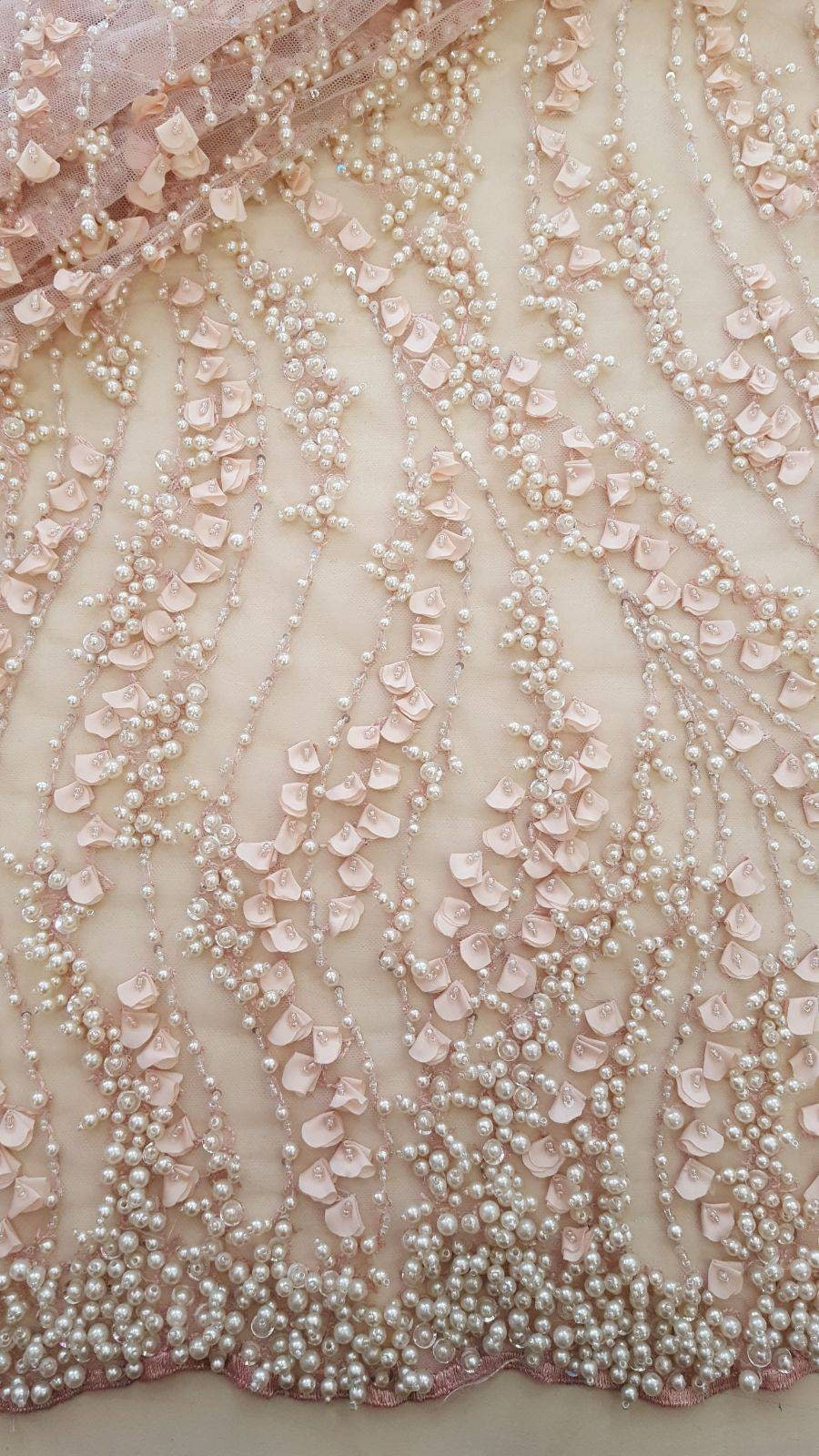 3D lace fabric Salmon pink flowers lace fabric 3D French