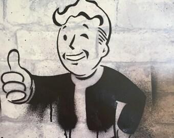 Fallout Vaultboy inspired graffiti A3 print