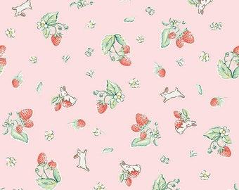 "1/2 yard Penny Rose Fabrics ""Bunnies and Cream"" By Lauren Nash | Bunnies Strawberry Pink"