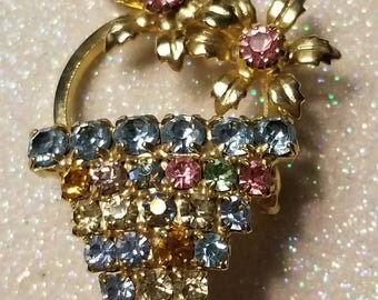 Vintage Multi Color Rhinestone Flower Basket Pin Brooch Goldtone