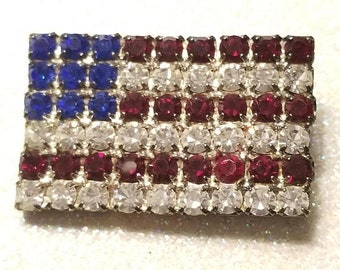WOW SALE : Vintage Red White and Blue Rhinestone Pin Brooch Flag
