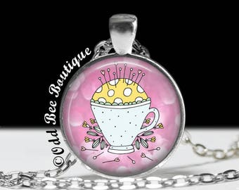 "Pin Cushion Necklace - Seamstress Pendant - Quilter Gift - Crafter Jewelry - Gift for Seamstress, Crafter, Textile Artist -1"" Silver & Glass"