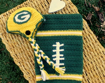 Baby FOOTBALL Cocoon, Newborn swaddle, Greenbay PACKERS Inspired (Handmade by me and not affiliated with the NFL)
