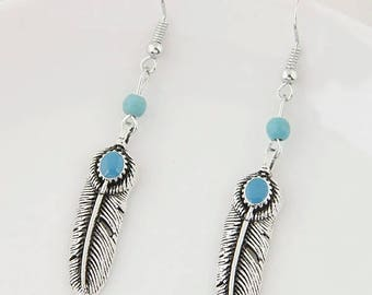 Feather Earrings with Blue Bead