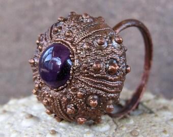 Amethyst copper ring | Electroformed sea urchin ring | Copper urchin shell ring with amethyst cabochon