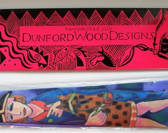 OAK Vintage Hand painted silk tie by Dunford Wood unworn original packaging