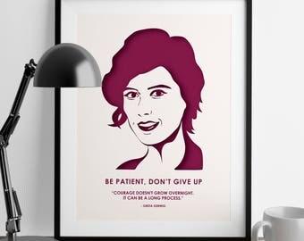 Greta Gerwig Print - Gift for Women - Girl Power - Wall Art - She Persisted - Feminist Gifts - Greta Gerwig - Lady Bird Print - Nursery Art