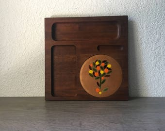 Vintage Solid Walnut Ernest Sohn Cheese Board, MCM Danish Style Hors d'oeuvre Snack Party Tray, Mid Century Home