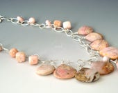 All Pink Opal and Sterling Silver Chain, Bib Necklace