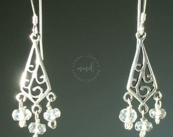 Small, Sterling Silver Chandelier and White Topaz Dangle Earrings