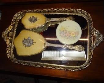 Vintage 5-Piece Vanity Dresser Set - Vanity Mirror, Hand Mirror, Brush, Comb and Compact - Mid Century Hollywood Regency Glam Vanity Set