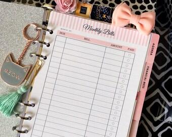 A5 Printed Planner Inserts - Bill Tracker - Filofax A5 - Kikki K Large - Design: Mademoiselle