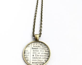 HEART Vintage Dictionary Word Pendant