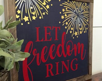 Let Freedom Ring with Hidden Mickeys ~ July 4th ~ Rustic Wood Sign